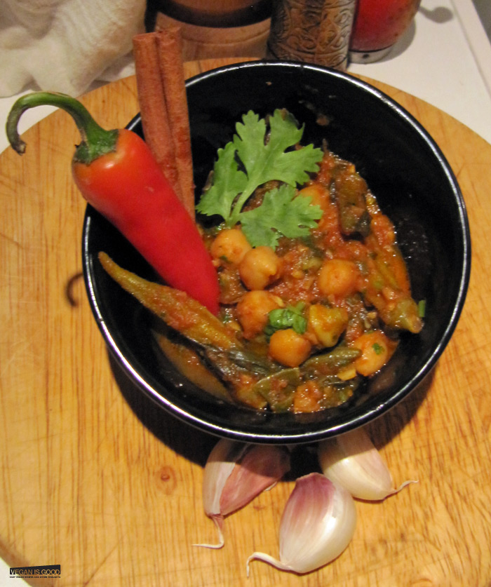 Chole with Beetroot Leaves and Okra