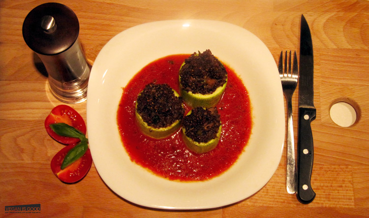 Zucchini Stuffed with Quinoa and Mushrooms in Tomato Sauce
